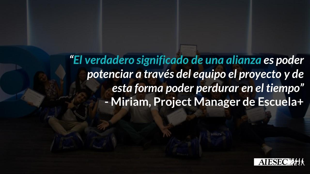 Entrevista a Miriam Alva: Project Manager del Proyecto Escuela+ y miembro de AIESEC